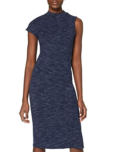 Amazon-Marke: find. Damen Langes Stretch-Kleid mit Space Dye, Blau (Navy), 34, Label: XS