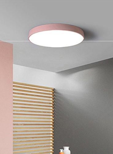 Modeen Europe du Nord Acrylique Chambre Chambre D'enfants Plafonnier Simple Moderne Led Fer Créatif Ronde Macarons LED Plafond Pendentif Lampe Restaurant Cuisine Décoration (Color : Pink-30cm)