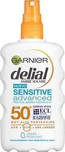 Garnier Delial Sensitive Advanced - Spray Protector Solar para Pieles Claras, Sensibles e Intolerantes al Sol - IP50+ - 200 ml