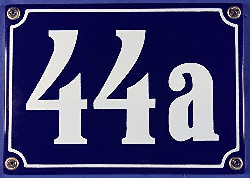 Buddel-Bini Wetterfestes Emaille Hausnummernschild 3-stellig mit Wunschzahl Wunschtext Buchstaben 18x12 cm Schriften