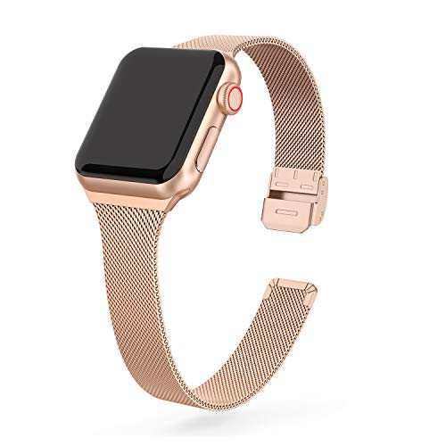 EDIMENS Metal Band Compatible with Apple Watch 38mm 40mm 42mm 44mm, Stainless Steel Small Replacement Compatible for iWatch Series 6/5/4/3/2/1 Sport Edition Women, Black, Champagne, Silver, Rose Gold
