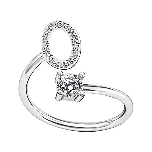 Rings for Women,SHOBDW Silver Ring Girls Fashion Alphabet Ring Couple Friends Rings Opening Adjustable Ring Jewelry Gifts for Her(O)