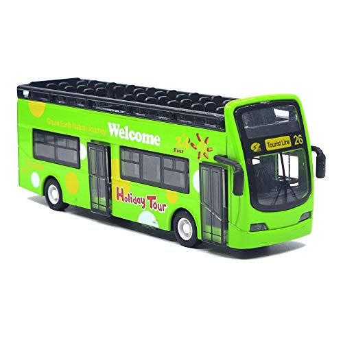 Ailejia City Bus Sightseeing Double Decker Bus Model Open Top Pull Back Vehicles Toy Die Cast Pull Back Vehicles Mini Model Car Lights and Music (Green)