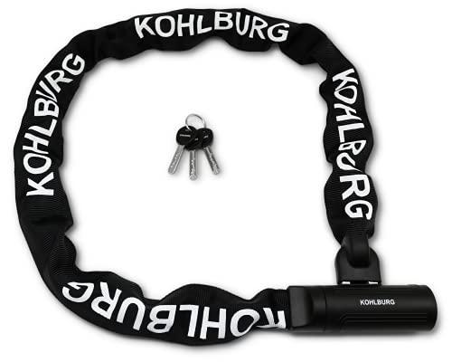KOHLBURG Sicherheits- Kettenschloss - Schloss 120cm lang mit 8,5mm starker 4-Kantkette aus gehärtetem Spezialstahl - sicheres Fahrradschloss mit 3 Schlüssel für E-Bike Fahrrad & Motorrad