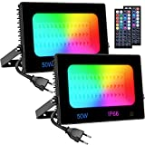 Olafus 2x 50W Focos LED RGB de Colores Dimmables, Focos Led Exterior, 44 llaves Control Remoto, Función de Memoria e Timer, IP66 Impermeable, para Decoración Fiesta, Árbol, Jardín, Bar, Pared
