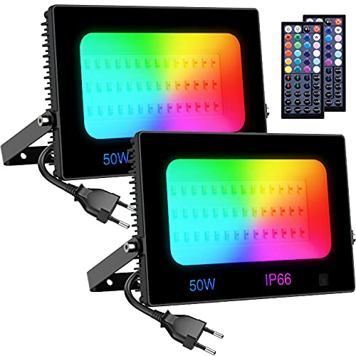 Olafus 2er RGB LED Strahler 50W, Farbig Fluter mit Fernbedienung, Farbwechsel Flutlicht für Innen Außen, Bunt Scheinwerfer mit Timing, IP66 Wasserdicht Außenstrahler, Memoryfunktion für Garten Party