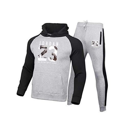 2021 - Conjunto de chándales de baloncesto para hombre, Jordania - Sudaderas de baloncesto con capucha y pantalones de deporte - Casual Gym Sports Running Training Sudaderas y pantalones gris-XXXL