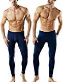 TSLA CLSL Men's Thermal Underwear Pants, Heated Warm Fleece Lined Long Johns Leggings, Winter Base Layer Bottoms, Thermal Fly-Front 2pack(mhb101) - Navy, Large