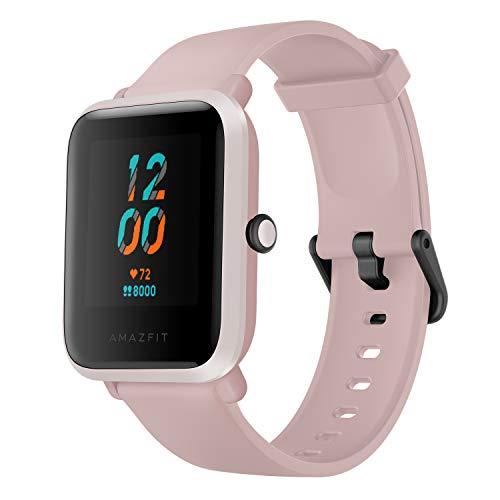 Relógio inteligente Bip S Fitness, 40 dias de vida útil da bateria, 10 modos esportivos, ritmo cardíaco, exibição sempre ligada, resistente à água, GPS integrado, 42 x 35.3 x 11.4mm, Warm Pink