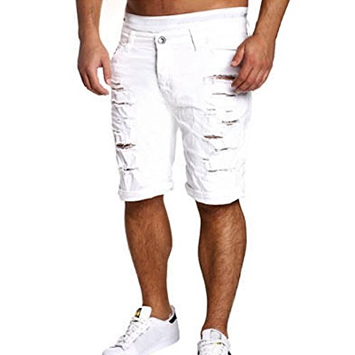 LuckyGirls Pantalones Vaqueros Hombres Cortos Rotos Rectos Originales Chandal Slim Fit Aptitud Suelto Pantalones Casuales Elasticos Agujero Pantalón Jeans
