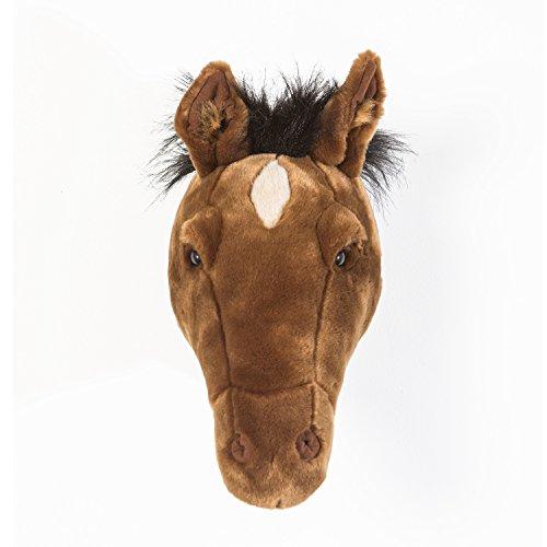 Wild & Soft Trophäe Pferd Dunkelbraun Scarlett 38 x 14 x 35 cm- Plüschtier als Wanddekoration im Kinderzimmer handgefertigt