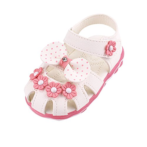 Evedaily LED Sandalen Baby Mädchen, Babyschuhe Sandalen Lederschuhe beleuchtete Sohle weiche Baby Lauflernschuhe