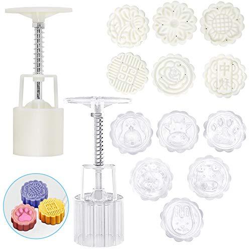 FineGood - Molde para pasteles de luna con 12 sellos de galletas, diseño de flores, 50 g de presión a mano, herramientas para hornear galletas