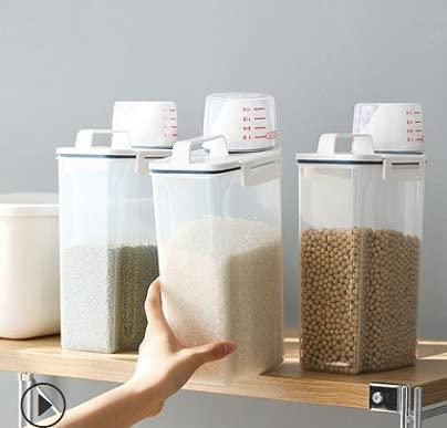 Fyfjur 2L Tarros Cocina, Botes Cocina Almacenaje, Botes Legumbres Cocina, Botes Cocina Almacenaje de Plástico de Alimentos Sellados con Tapa, Se Utiliza para Arroz, Harina, Pasta, Almacenar Cereales