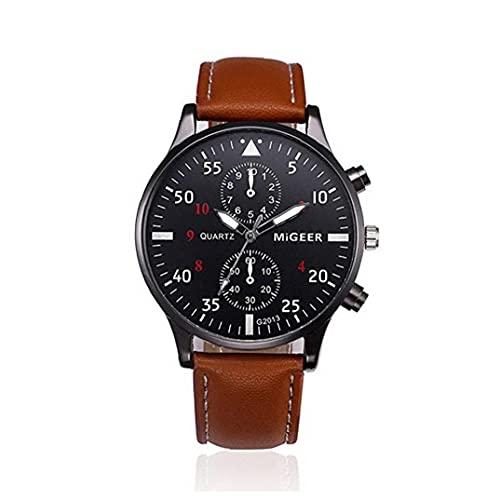 Bao Xiang Reloj Unisex Reloj Analógico De Cuarzo con Brazalete De Cuero Pulsera Reloj De Pulsera Duradera con Batería Incorporada Reloj De Cuarzo Marrón