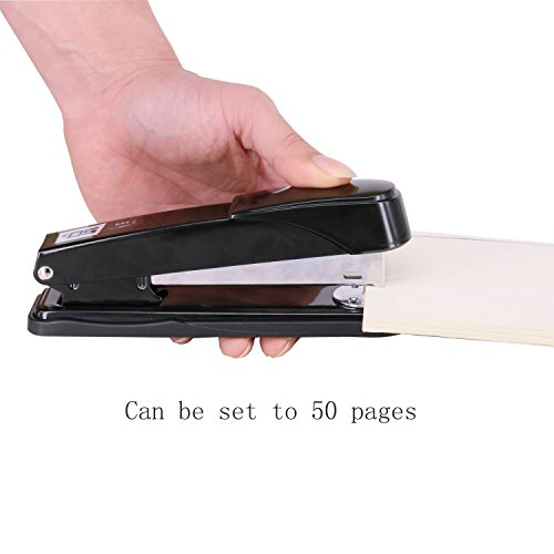 EWO'S New stapler with staples, long arm stapler with 1000 staples 50 sheets print papers-black Photo #3