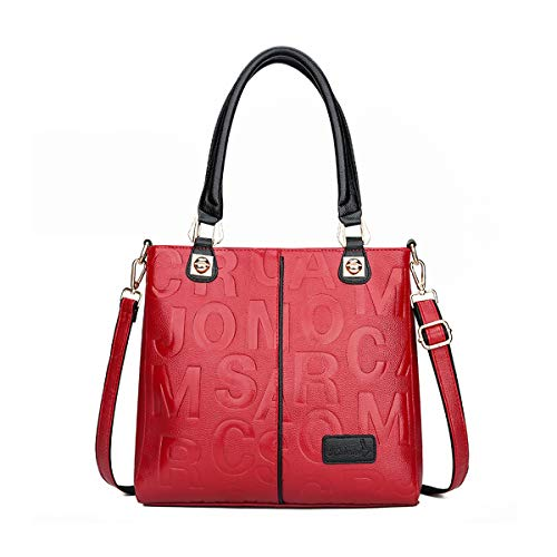 Tisdaini Bolsos de mano Mujer Bolsos bandolera Moda Bolsos totes Shoppers y bolsos de hombro ES912 Rosa Roja