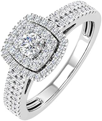 1 2 Carat Double Halo Diamond Ring in 10K White Gold Ring Size 6 5 product image