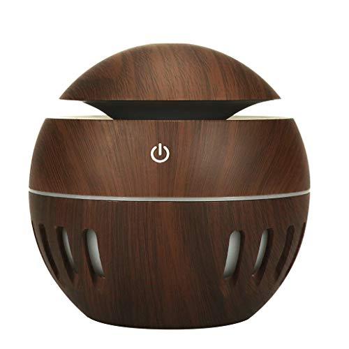 Dapei - Aroma Diffuser Rund Holzmaserung, 130ml Mini Duft Luftbefeuchter Ultra Leise Diffusor Aromatherapie Automatische Ausschaltung langlebig geeignet für Wohn-, Schlafzimmer Büro