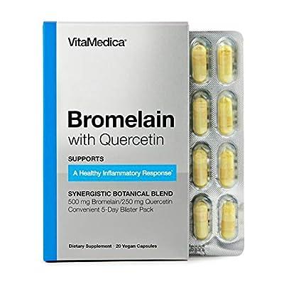 VitaMedica Bromelain with Quercetin Supplement- 500 mg (2,400 GDUs per Gram), Convenient 5-Day Blister Pack