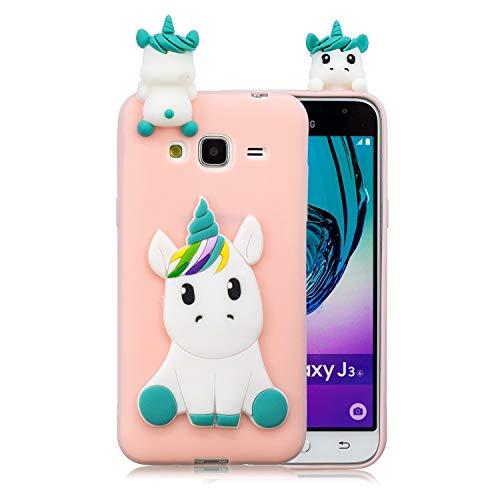 HongYong Handyhülle für Samsung Galaxy J3 (2016) / J320 - Hülle Fantastic Case - Einhorn auf Rosaem Grund - Hülle Schutzhülle Etui Case Cover Tasche für Handy