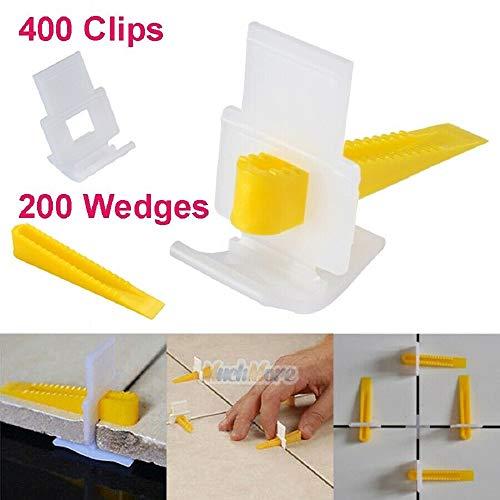 600 Fliesen-Nivelliersystem, 400 Clips + 200 Keile Fliesen-Leveler-Abstandshalter Lippage, Wandfliesen-Pflaster-Locator-Werkzeugclip (400 Clips + 200 Wedges)