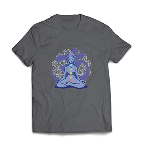 lepni.me Mens T-shirt Yoga Meditation Namaste Asana Mandala Sinne Kropp Själ (L Grafit Multi Color)