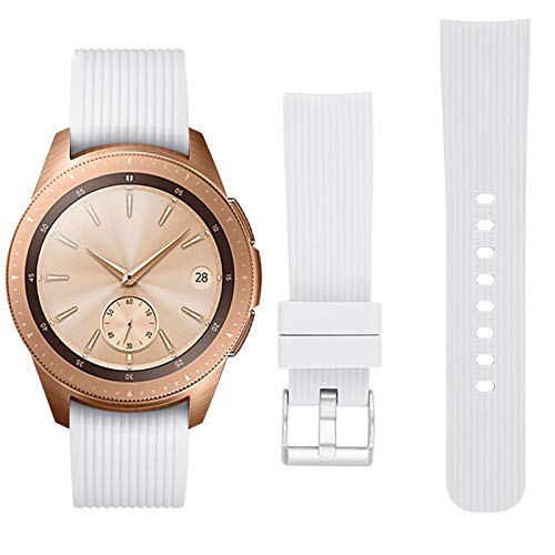 Banda De Reloj De Silicona A Rayas De 20 Mm Para Samsung Galaxy Watch Active 42mm Gear S2 Hebilla Reemplazo Pulsera Correa De Banda 1033 (Band Color : White, Band Width : S size)
