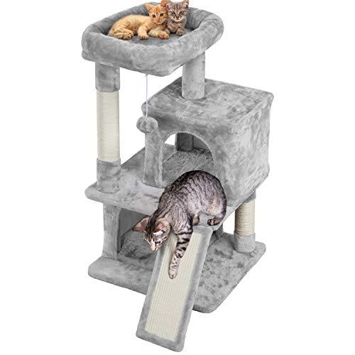 Yaheetech Kratzbaum Stabiler Katzenbaum 91 cm Katzenkratzbaum mit 2 Häuschen Sisal-Kratzstangen und Kuschelige Spielball Kletterbaum für Katzen