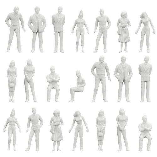 XAVSWRDE - Set di 100 statuette per persone, 1:50, in miniatura bianca, modello umano, in plastica, modello architettonico, casa delle bambole giocattolo, progetti scolastici per bambini e adulti