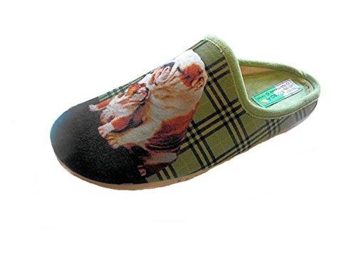 ALBEROLA Hausschuh/Pantoffel HELLE Sohle ENGLISCHE Bulldogge A7957 (40 EU)
