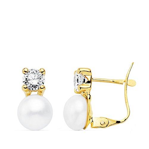 Pendientes niña tu y yo Perlas Cultivadas Oro Amarillo 18 K
