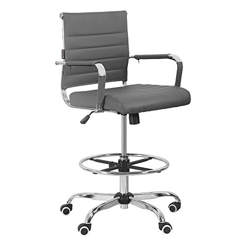 eclife 360° Drafting Office Chair Ergonomic Tall Office Chair,Height Adjustable,Mid-Back PU Leather Ribbed Leather Swivel, Footrest Lumbar Support, Executive Modern Conference Computer Chair (Grey)