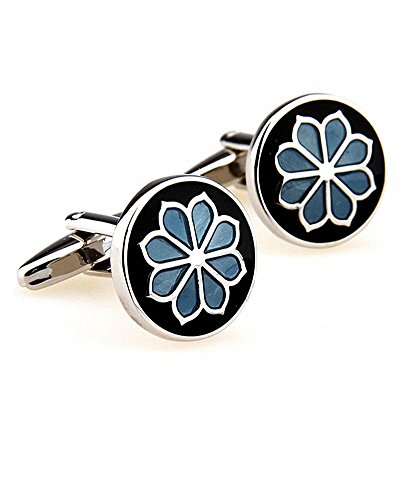 SAMGU Plantes à fleurs bleues boutons de manchette hommes de boutons de manchettes de chemise français pour Bijoux cadeau pour hommes