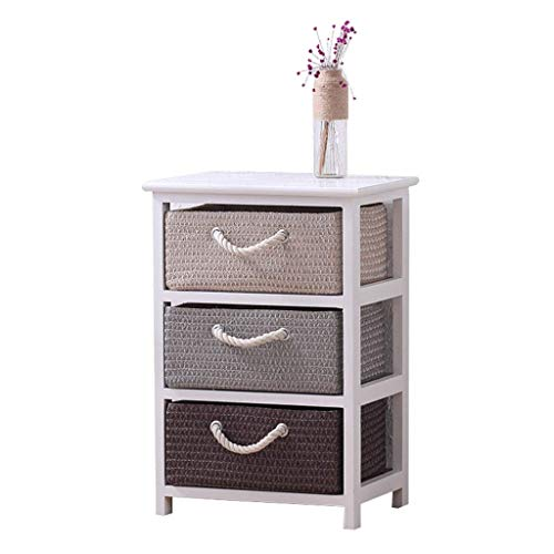 AXAA Wooden Storage Cabinet Japanese,Paulownia Chest Of Drawers bedroom With Wicker Baskets Bedroom Bedside Unit Furniture Multiple Sizes (Capacity : B 3 drawers)