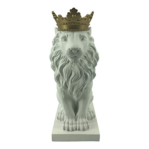 Comfy Hour Farmhouse Home Decor Collection 15' Resin Stone Lion Figurine King of Forest Statue Sculpture Home Decoration, White & Gold
