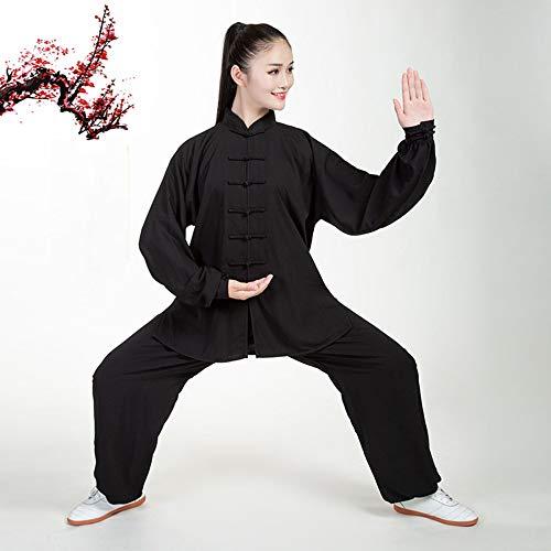Donna Tai Chi Abbigliamento,Cinese Tradizionale Arti Marziali Manica Lunga Costume Shaolin Wing Chun Qi Gong Cotone Seta Uniforme,Black-XS