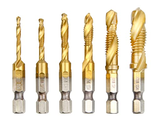 wesleydrill Titanium Combination Drill Tap Bit Set 6 Pcs M3-M10 Multi-Function Bit Set Fit for Drilling Tapping Cutting on Light Metal Aluminum Board Iron etc