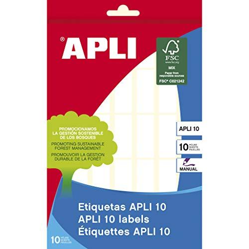 APLI 1636 - Estuche con 10 hojas de etiquetas, 12 x 30 mm, color blanco