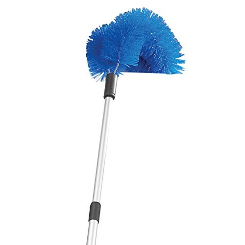Multi-use Telescopic Gutter Cleaner with Bristle Brush and Pad Head and Extendable Plastic Handle