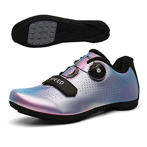LU-Model Zapatillas de Ciclismo para Carretera Plus, con Suela de y Sistema rotativo de precisión Suela Dura para Zapatos de Montar sin Bloqueo Blue-44