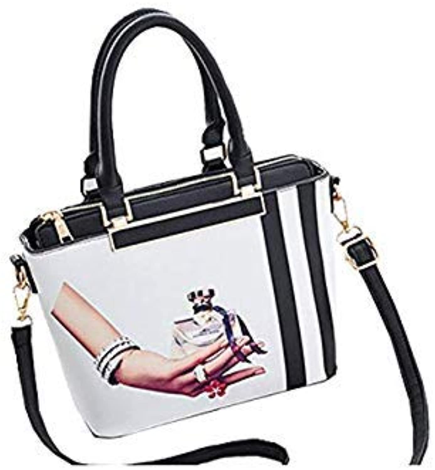 Bloomerang Luxury Women Lipstick Print Handbag Tote Casual Daily All-Purpose Shoulder Bag Top-Handle Design for Lady Elegant Tote Bag color Frost White