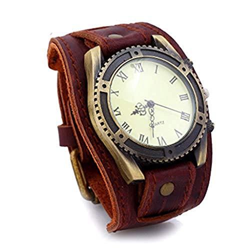 Fikujap Reloj para Hombres Reloj de Pulsera de Cuero Vintage para Hombres Pulsera Europea y Americana,C