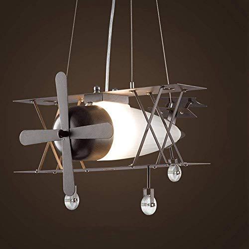 OYY Moderne Amerikanische Retro Kronleuchter Jagd Suspension Industrieflugzeug Kreative Persönlichkeit Haus Kinder Bekleidungsgeschäft Restaurant in Milchglas Eisen E27 Glanz Lichtkuppel