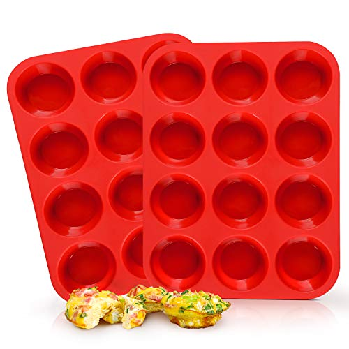 SJ European LFGB Silicone Muffin Pan Set, 2-Pack, 12-Cup, Large Cupcake Pan