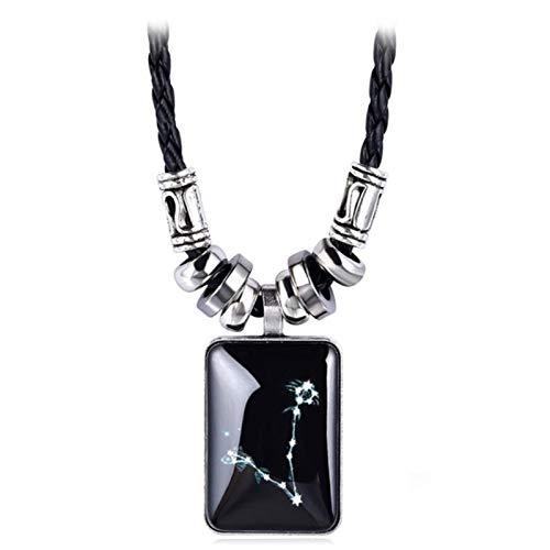 XYBB 12 Constelación del Zodiaco del Galaxy Collar Colgante Diseño del horóscopo astrología Collar de Las Mujeres de los Hombres de joyería de Resina (Metal Color : Pisces)