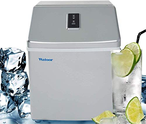 HEMFV Portable Ice Maker Machine Ice Maker Machine Countertop, 25KG/24H Freestanding Portable Stainless Steel Ice Maker, Compact&Lightweight Ice Maker with Ice Scoop and Basket. (Silver)