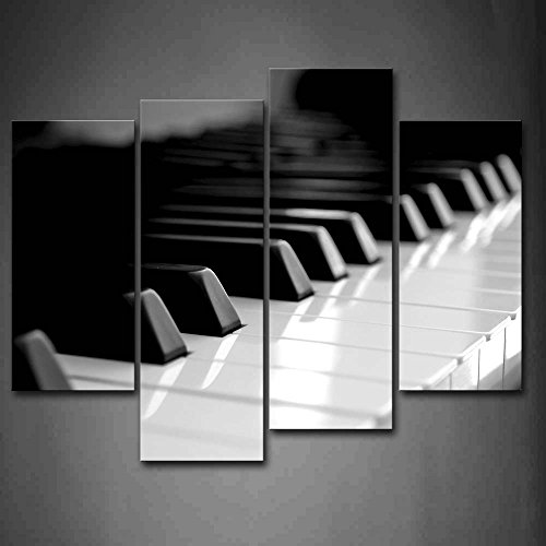 First Wall Art - Black and White Piano Keyboard Wall Art Painting The Picture Print On Canvas Art Pictures for Home Decor Decoration Gift