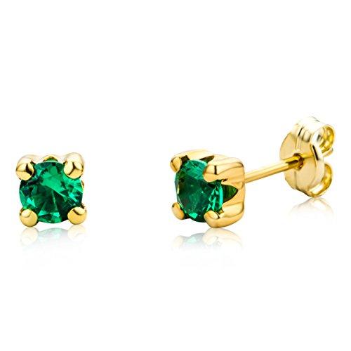Miore Ohrringe Damen runde Ohrstecker mit Edelstein/Geburtsstein Smaragd in grün aus Gelbgold 9 Karat / 375 Gold, Ohrschmuck