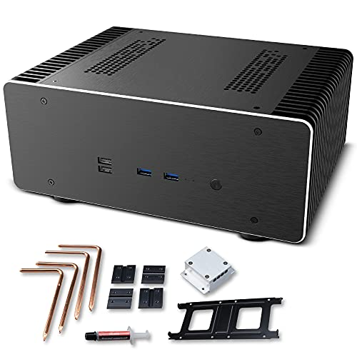 Akasa Maxwell Pro   HTPC Media Center Fanless Case for Mini ITX   Efficient Cooling & Truly Silent   100% Aluminum Body & Thermal Kit, Copper Heatpipe   Compatible with Intel AMD Boards   A-ITX48-M1B